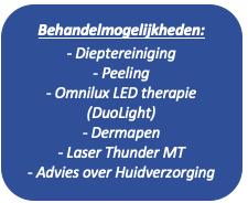 Afgeronde rechthoek: Behandelmogelijkheden:  - Dieptereiniging - Peeling - Omnilux LED therapie (DuoLight) - Dermapen - Laser Thunder MT - Advies over Huidverzorging